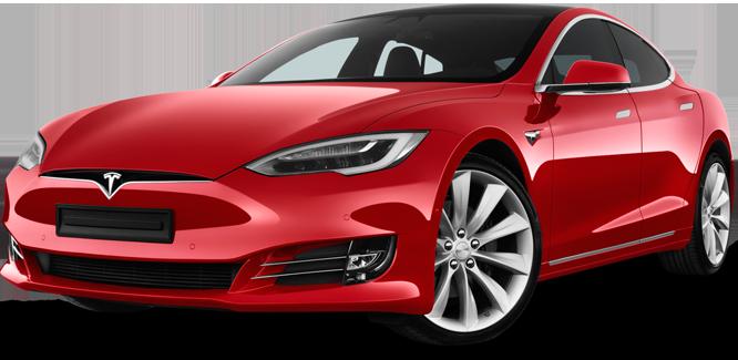 Red Tesla EV pointing forward
